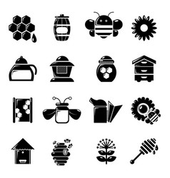 Apiary honey icons set simple style vector