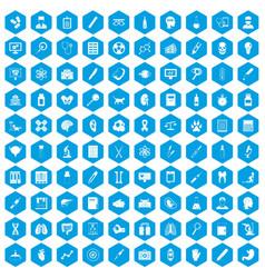 100 diagnostic icons set blue vector