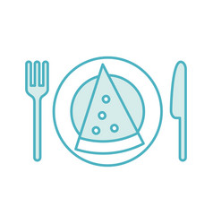 cutlery kitchen with pizza vector image