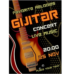 Rock concert design template with guitar vector