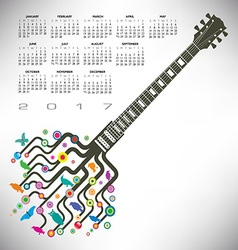 2017 calendar guitar tree vector image
