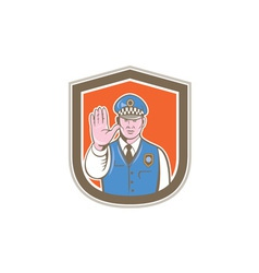 Traffic policeman hand stop sign shield cartoon vector