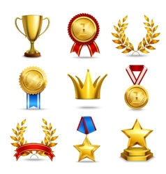 Realistic award icons set vector
