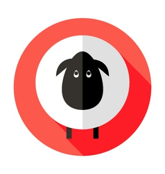 Sheep flat circle icon over red vector