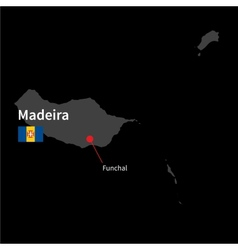 Detailed map of madeira and capital city funchal vector