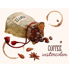 Watercolor bag with coffee beans vector image