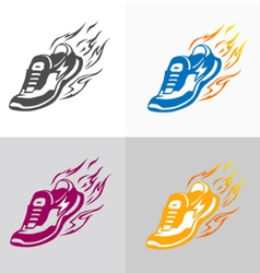 Sport and fitness logo running shoe icons vector