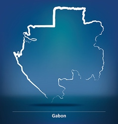 Doodle map of gabon vector