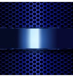 Blue metallic banner geometric pattern of hexagons vector