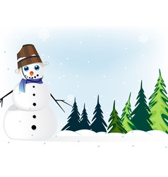 Snowman in a pine forest vector