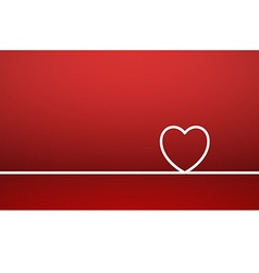 Line forming heart shape on red background vector
