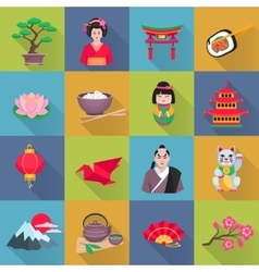 Japanese culture symbols flat icons set vector