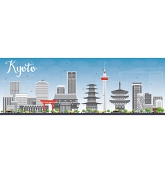 Kyoto Skyline with Gray Landmarks and Blue Sky vector image