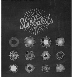 Handmade sunburst design elements vector