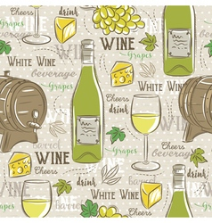 Beige seamless patterns with white wine set vector