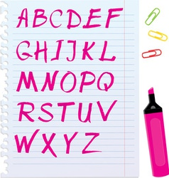Alphabet set - letters are made of magenta color vector