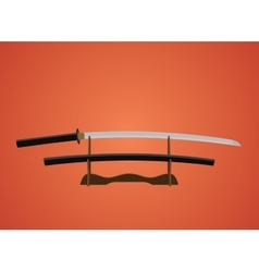 Katana sword samurai japanese with red background vector