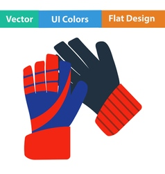 Flat design icon of football goalkeeper gloves vector