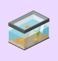 aquarium with fish isometric vector image
