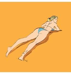 Beautiful girl sunbathes on a beach vector image