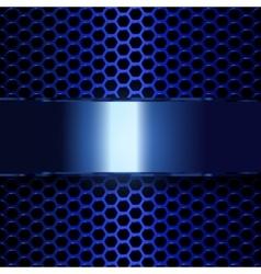 blue metallic banner geometric pattern of hexagons vector image vector image