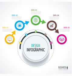 business timeline infographics with 5 circles vector image