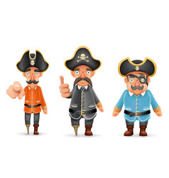 Captain pirate funny pointing thumbs up 3d vector