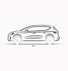 car silhouette side view of suv vector image