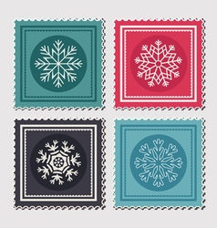 Christmas postage stamps vector