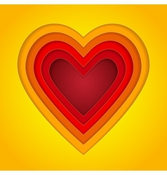 Colorful red orange and yellow paper layers heart vector image vector image