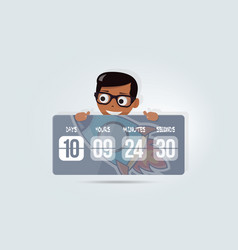countdown for site with happy boy cartoon timer vector image