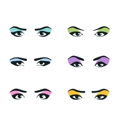 Eyes icons set girl young woman or fashion vector