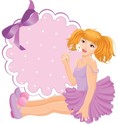 Girl doll against round lace frame with bow vector image vector image