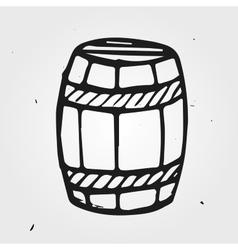 Hand drawn barrel with wine or beer isolated vector