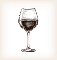 hand drawn of wineglass vector image
