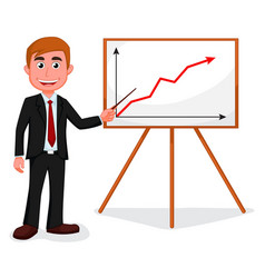 Happy businessman standing for good presentation vector