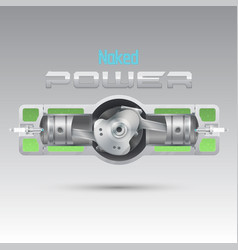 internal combustion engine of an opposite design vector image