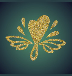 Jewelry gold glitter hand drawn love heart symbol vector
