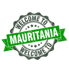 Mauritania round ribbon seal vector