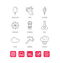 Newborn heart and lab bulb icons ice cream vector