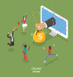 Online income flat isometric concept vector