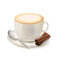 Realistic white cup filled with cappuccino vector