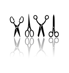 scissors with reflection silhouette vector image vector image