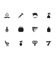 set of 12 editable barber icons includes symbols vector image vector image