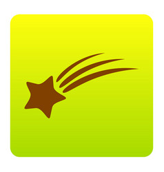 Shooting star sign brown icon at green vector