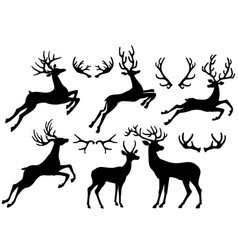 silhouettes of deers and deer horns vector image vector image