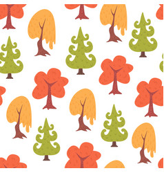 simple seamless colorful trees pattern vector image