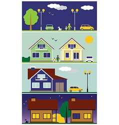 Streets and houses vector