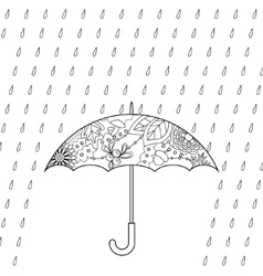 Umbrella and rain coloring vector image vector image