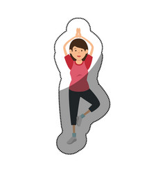Woman athlete practicing exercise avatar character vector